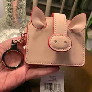 Authentic Kate Spade leather PIG card cs/Keychain